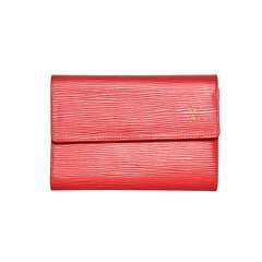 LOUIS VUITTON Red Epi Leather Wallet