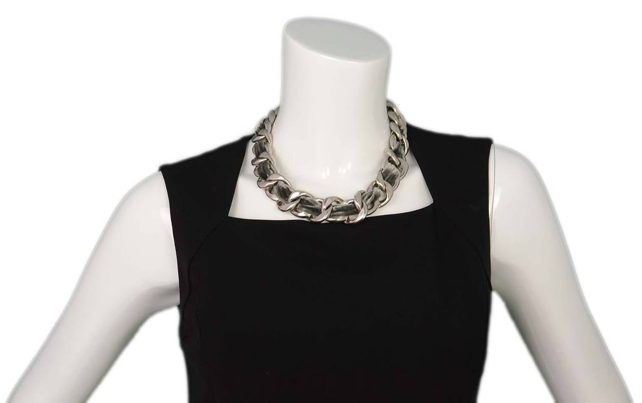 CHANEL Grey Velvet Woven Silver Oversized Chain Link Necklace For Sale 1