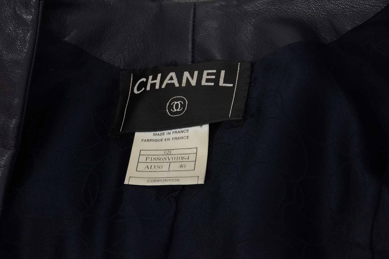 CHANEL Navy Leather Button Front Jacket sz 40 For Sale 1