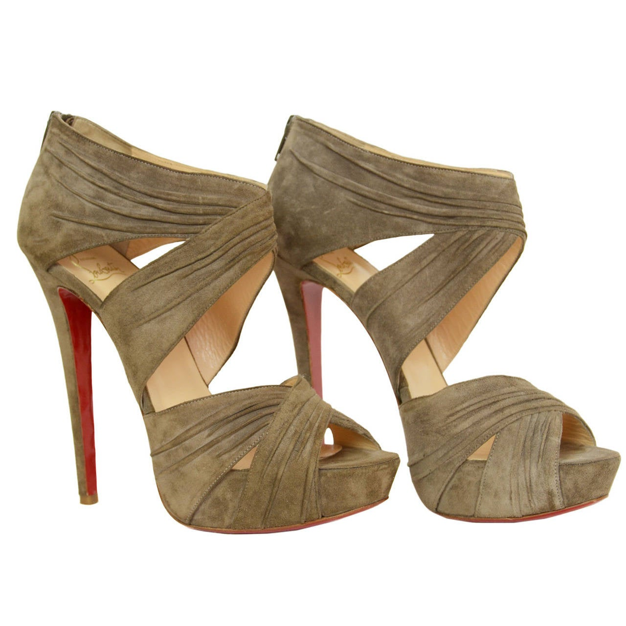 CHRISTIAN LOUBOUTIN Ruched Taupe Suede Bandra 140 Pumps sz 40.5 1