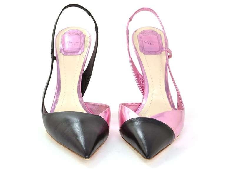 CHRISTIAN DIOR Black/Pink DEFILE Pointy Slingback Heels-Sz 11 2