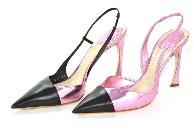 CHRISTIAN DIOR Black/Pink DEFILE Pointy Slingback Heels-Sz 11 3