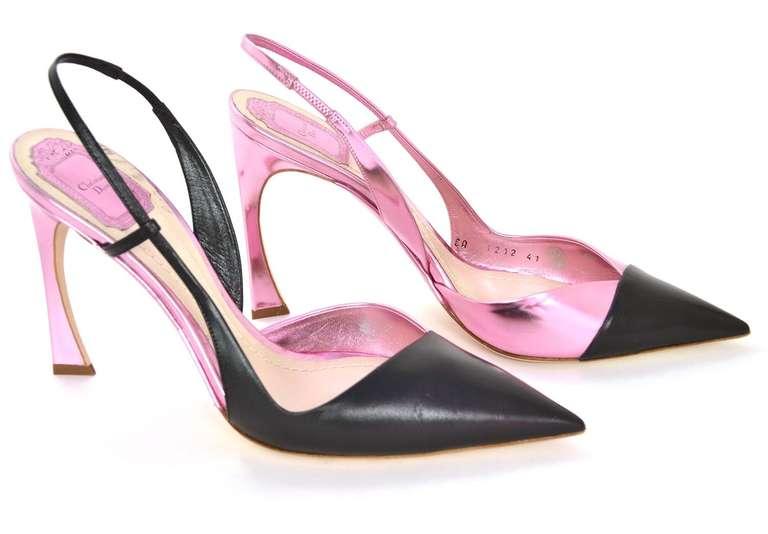 CHRISTIAN DIOR Black/Pink DEFILE Pointy Slingback Heels-Sz 11 4