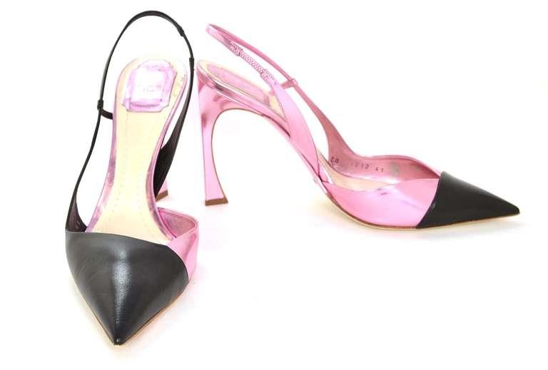 CHRISTIAN DIOR Black/Pink DEFILE Pointy Slingback Heels-Sz 11 5
