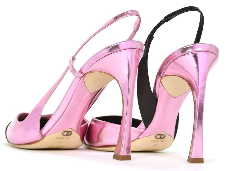 CHRISTIAN DIOR Black/Pink DEFILE Pointy Slingback Heels-Sz 11 7