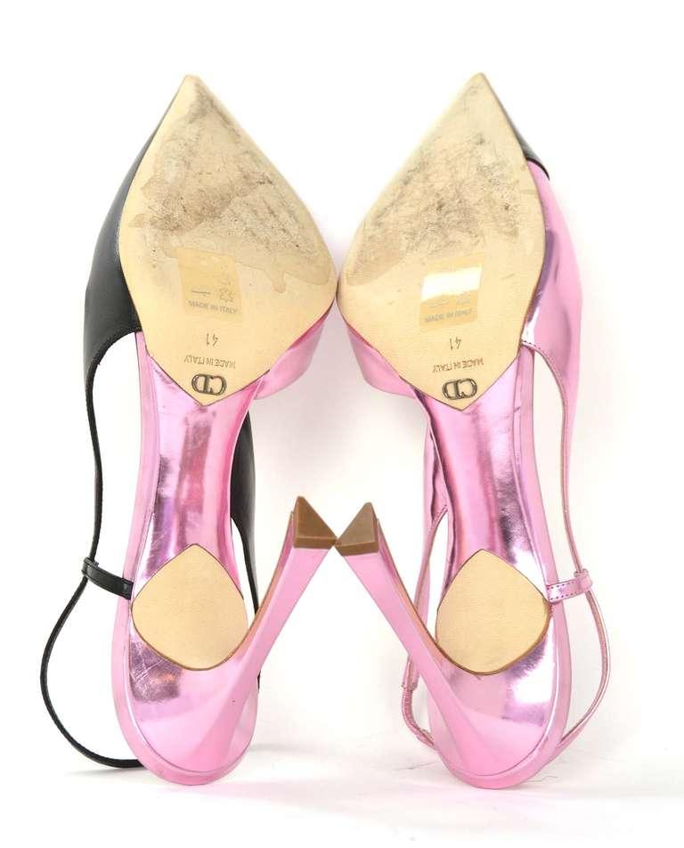 CHRISTIAN DIOR Black/Pink DEFILE Pointy Slingback Heels-Sz 11 8
