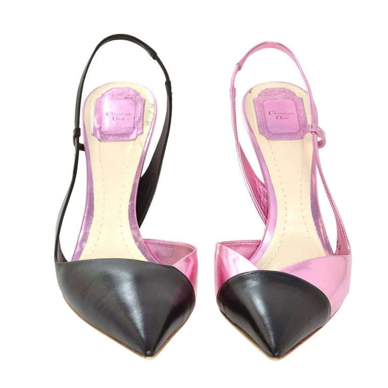 CHRISTIAN DIOR Black/Pink DEFILE Pointy Slingback Heels-Sz 11 1