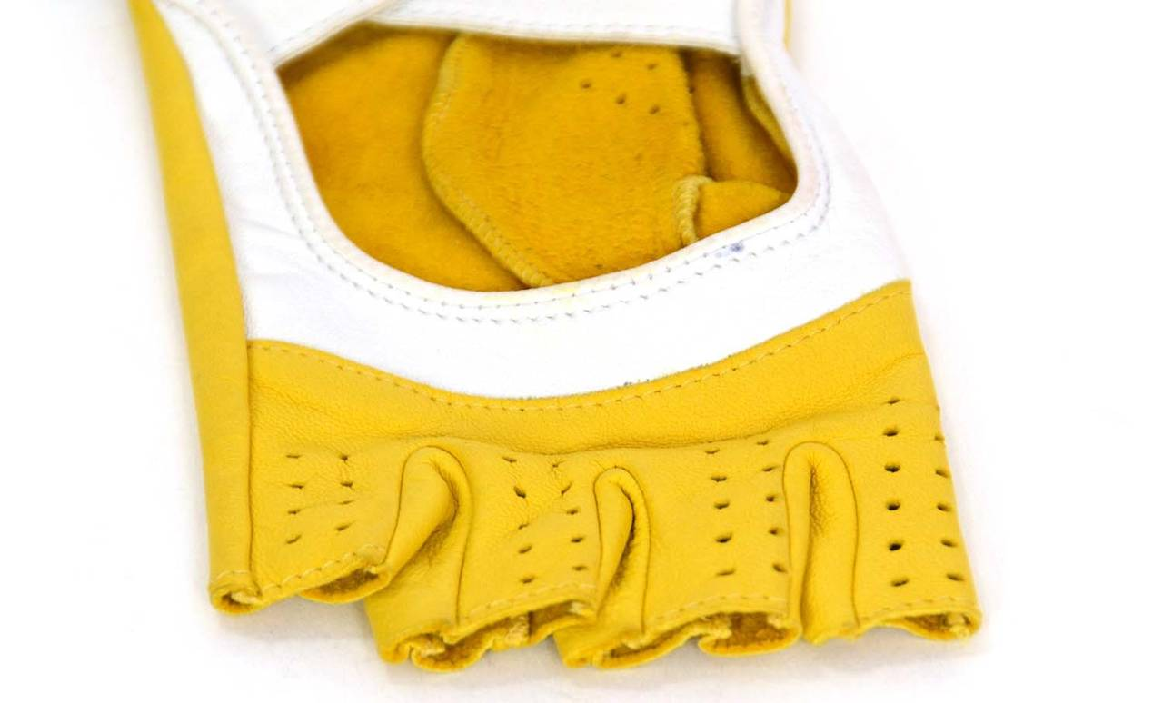 Yellow leather driving gloves - Chanel Yellow White Leather Fingerless Driving Gloves 2