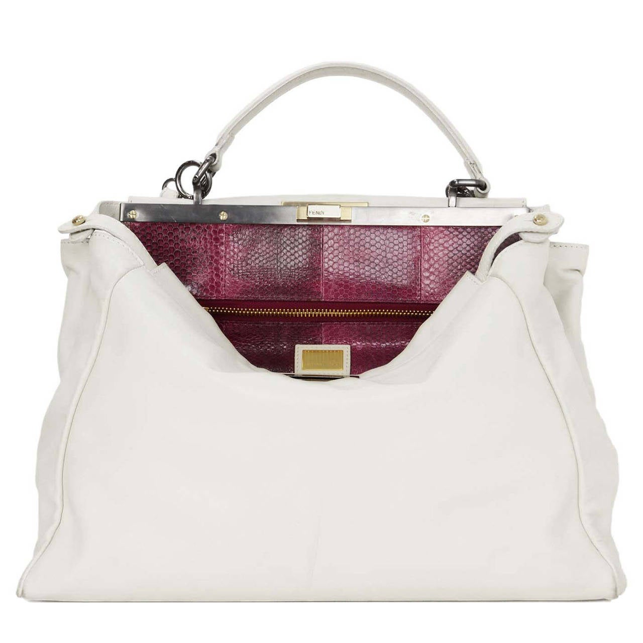 e3db11e48ea2 Fendi White Leather Large Peekaboo Bag w Pink Python Lining rt ...