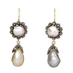 Georgian Natural Pearl and Rose Cut Diamond Drop Earrings