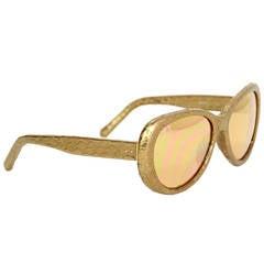 LINDA FARROW Gold Snakeskin Cat Eye Sunglasses