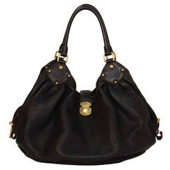 """LOUIS VUITTON Black Perforated Leather """"Mahina"""" Bag GHW"""