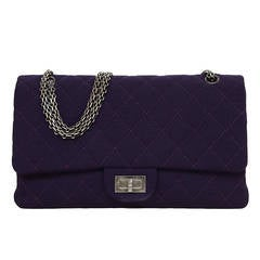 CHANEL Purple Quilted Jersey 227 Re-Issue Double Flap Bag RHW
