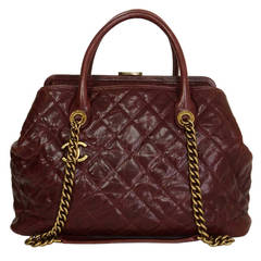 CHANEL Burgundy Quilted Caviar 30cm Shopping Tote Bag GHW