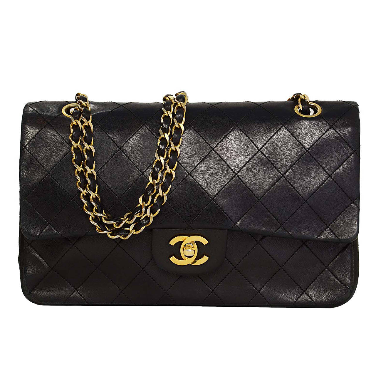 8c79ae2cc443 CHANEL Vintage 80's Black Quilted Lambskin 10