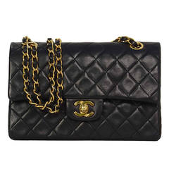 """CHANEL Vintage Navy Quilted Lambskin 9"""" Classic Double Flap Bag GHW"""
