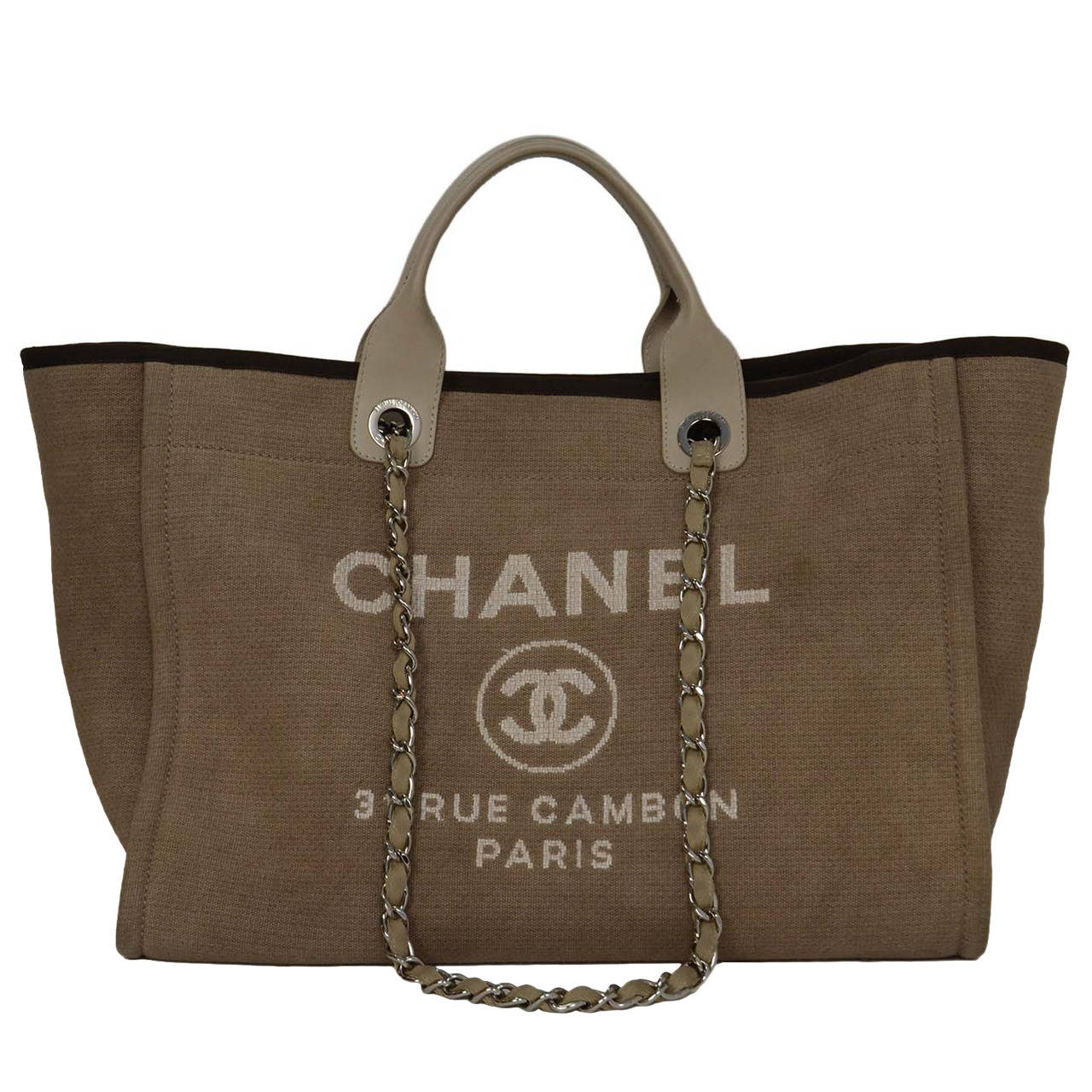 753d37cceeebb7 Chanel Canvas Tote Shopping Bag | Ville du Muy