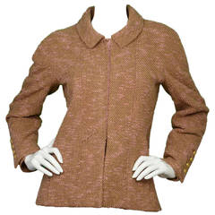 CHANEL Vintage '96 Pink & Camel Boucle Zip Up Jacket sz 36