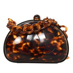 CHANEL RARE Vintage 90's Tortoise Shell Crossbody Bag