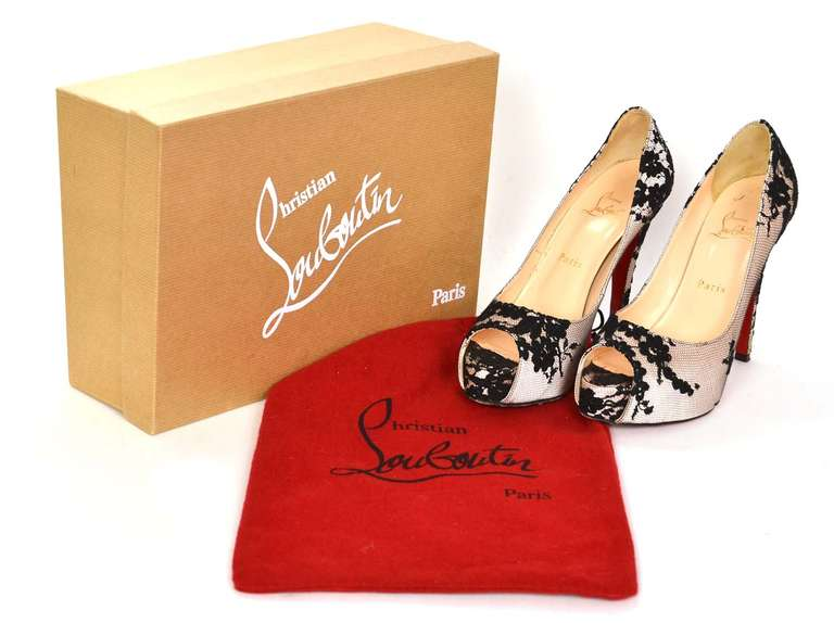 CHRISTIAN LOUBOUTIN Lace Hidden Platform Peep Toe Shoes-Sz 37.5 8