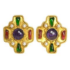 Chanel '86 Multi-Colored Gripoix & Pearl Clip Earrings