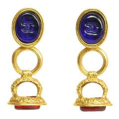 Chanel Gripoix & Gold Dangling Clip On Earrings