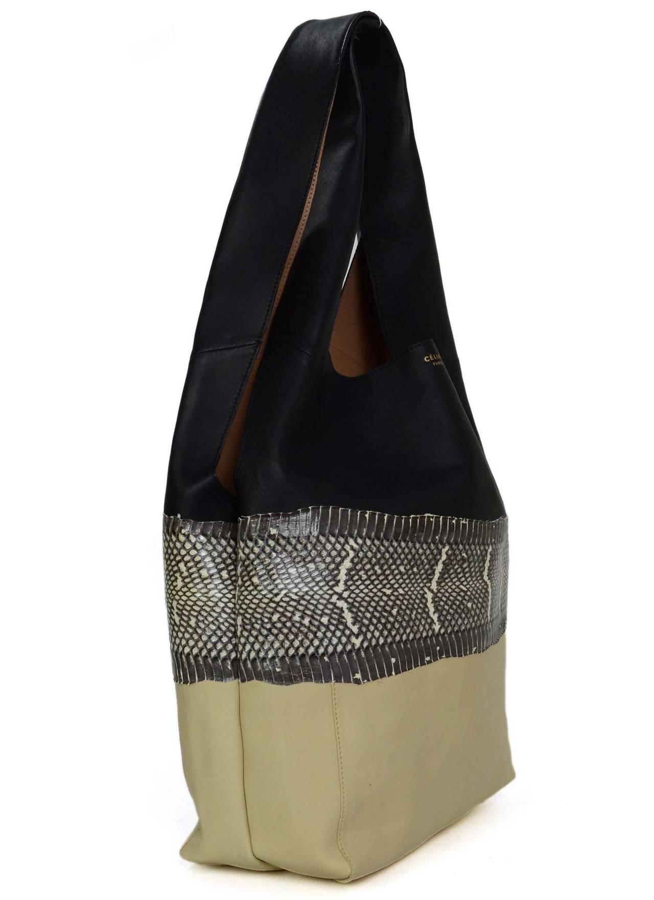 CELINE Black, Snakeskin, and Beige Tricolor Soft Cabas Hobo Bag at ...
