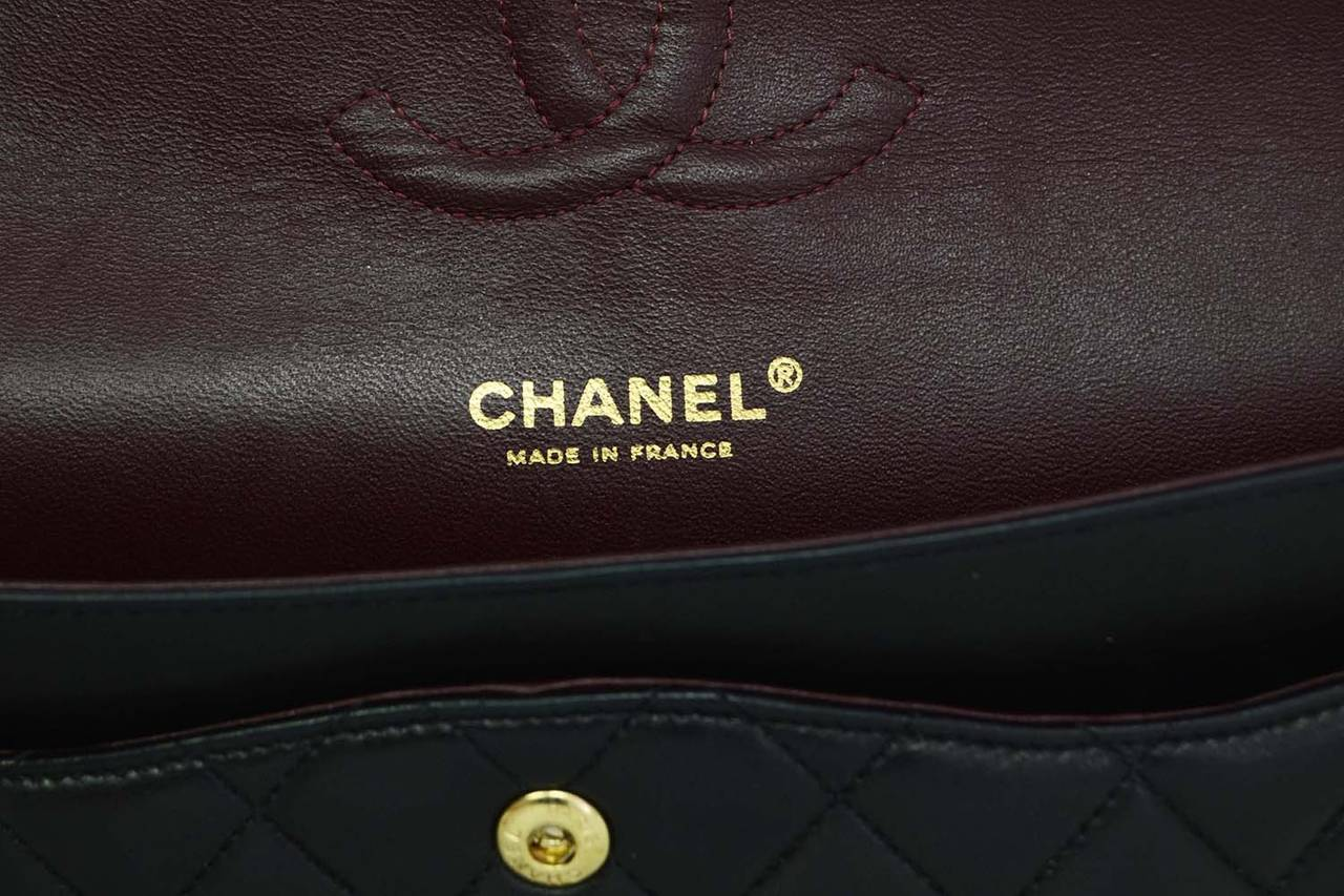 Chanel Black Quilted Lambskin Medium Classic Double Flap Bag Ghw For 3