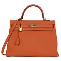 HERMES Orange Togo 35cm Kelly Bag GHW