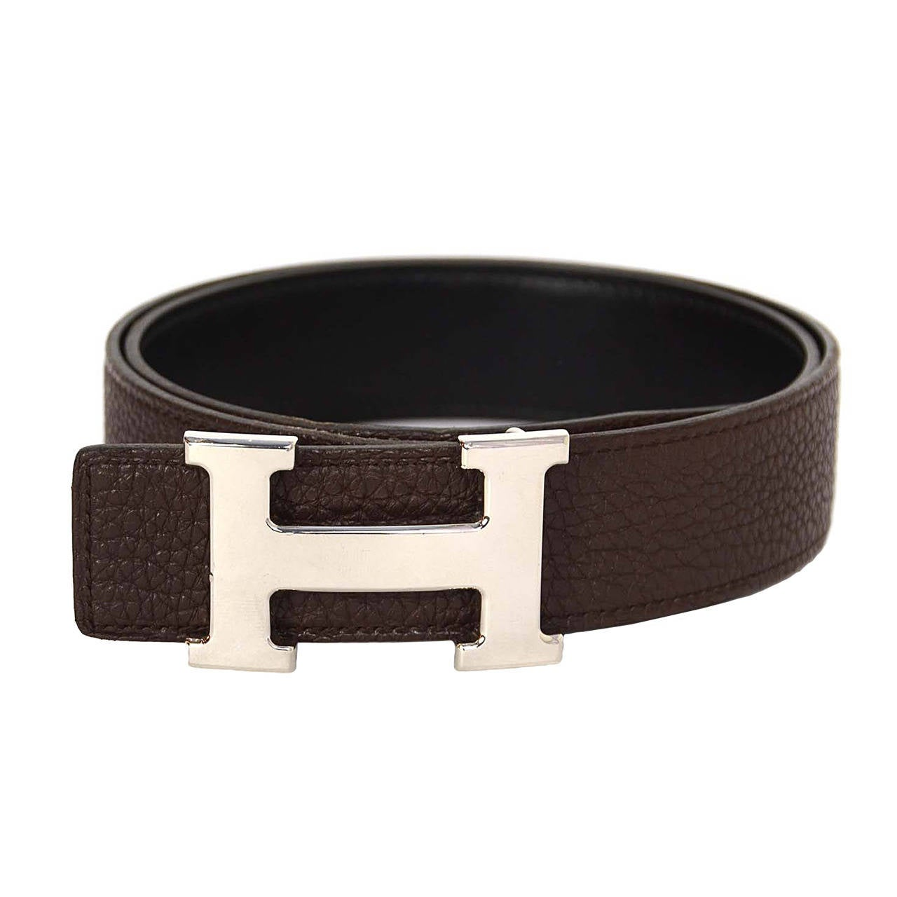 hermes black and brown leather 32mm h belt kit sz 75 phw
