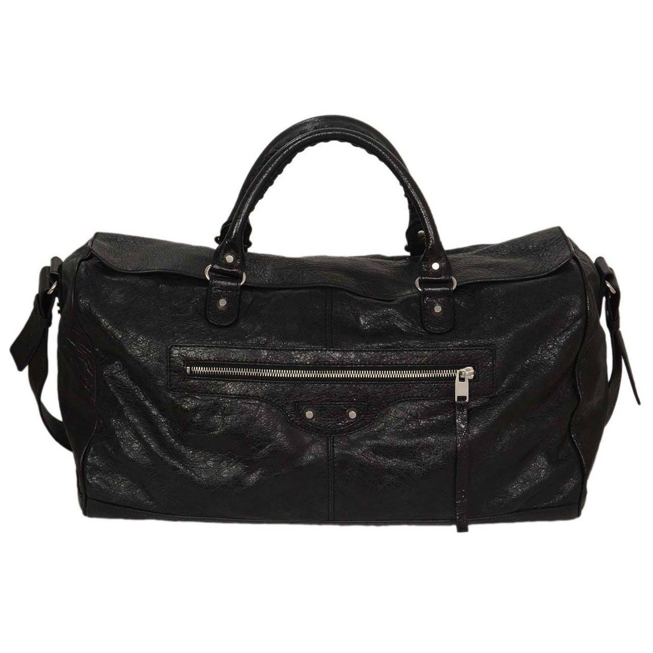 BALENCIAGA Black Distressed Leather Squash Weekend Bag SHW ...