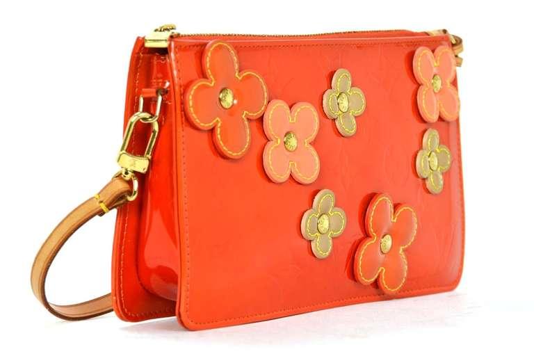Louis Vuitton Orange Vernis Lexington Fleur Pochette Bag
