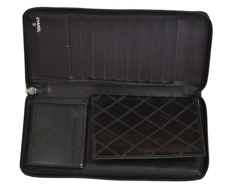 5aede2a57fec CHANEL Black Quilted Leather Zip Around Travel Wallet W/Passport Holder For  Sale 2