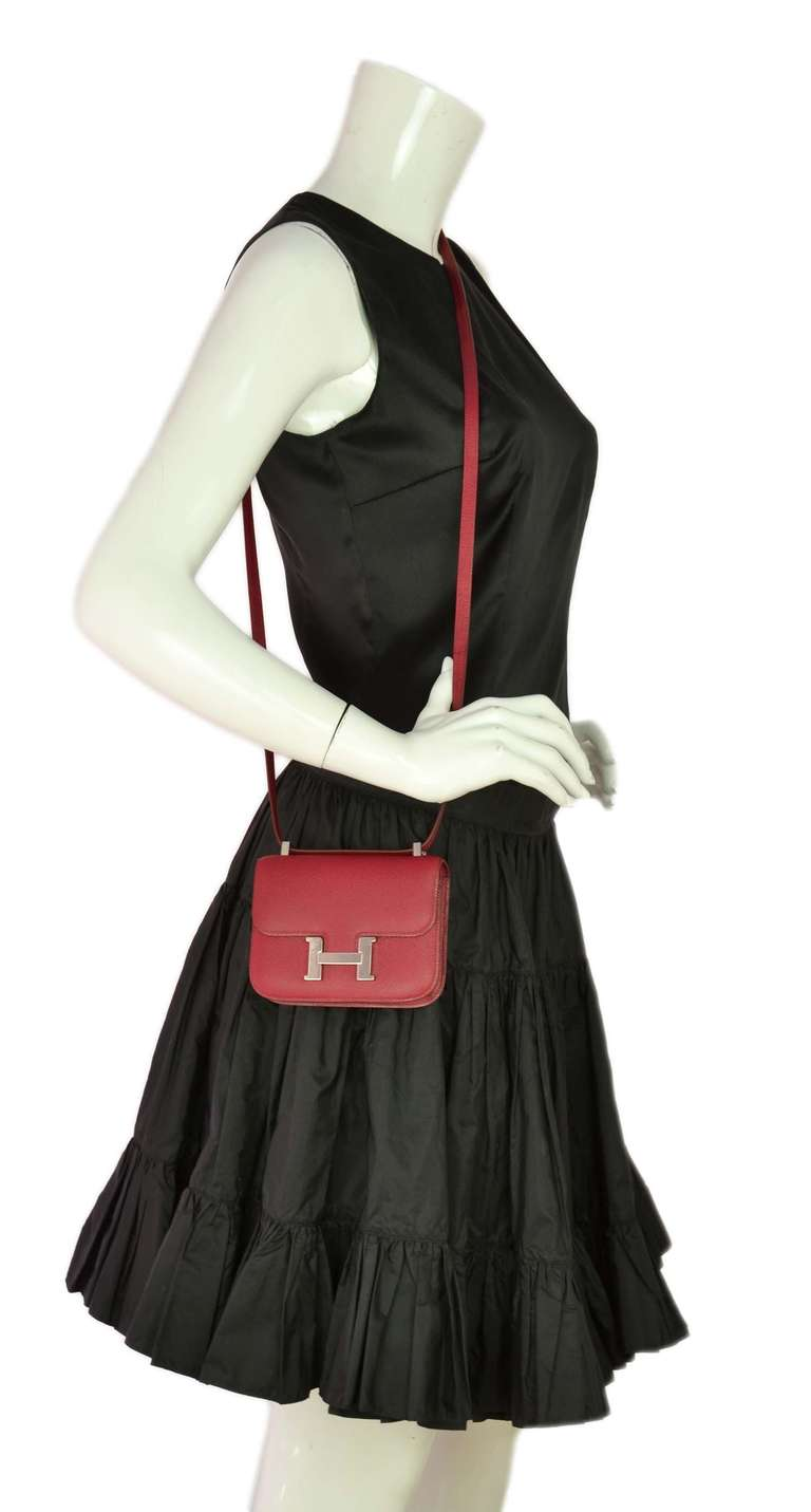 Hermes Rubis Red Epsom Leather 14 Cm Micro Constance Cross