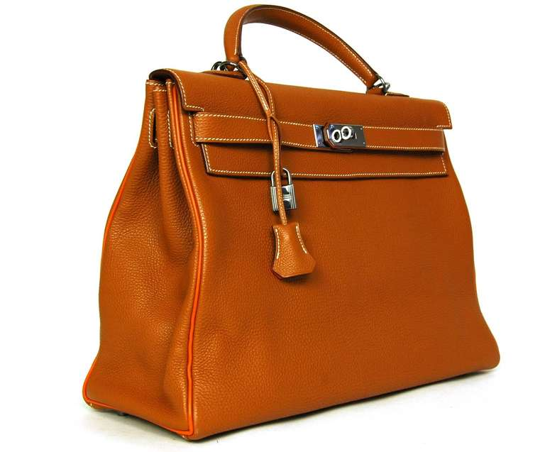 421b3a1975 Hermes Rare Tan Togo Leather 40cm Kelly Bag W. Orange Trim and 2 ...