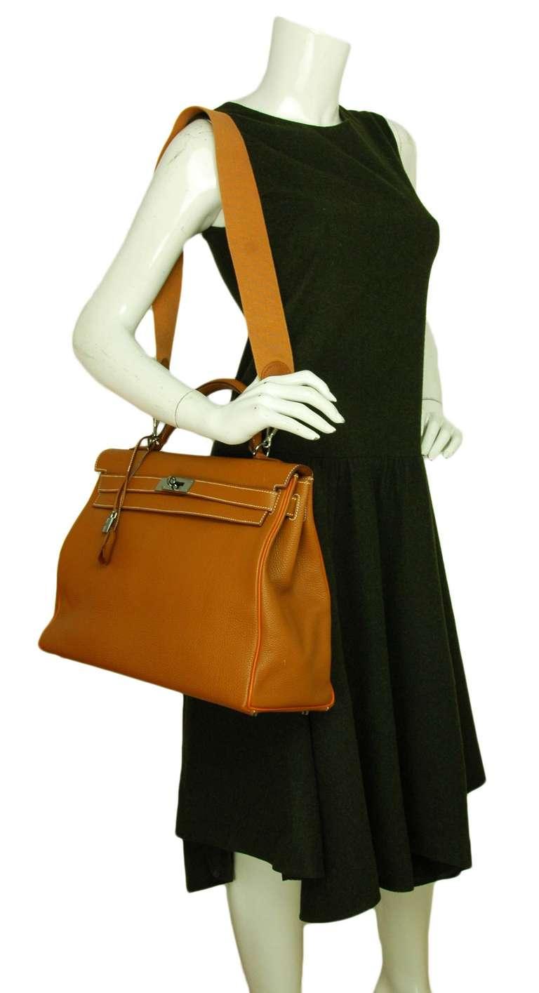 Hermes Rare Tan Togo Leather 40cm Kelly Bag W. Orange Trim and 2 ...