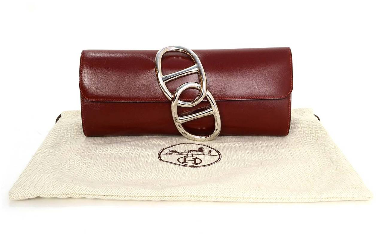 HERMES Burgundy Box Leather Egee Clutch Bag PHW 9