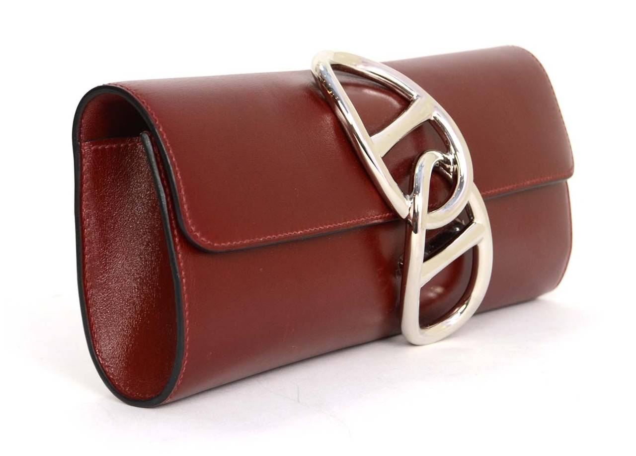 HERMES Burgundy Box Leather Egee Clutch Bag PHW 2