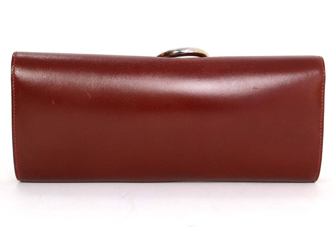 HERMES Burgundy Box Leather Egee Clutch Bag PHW 3