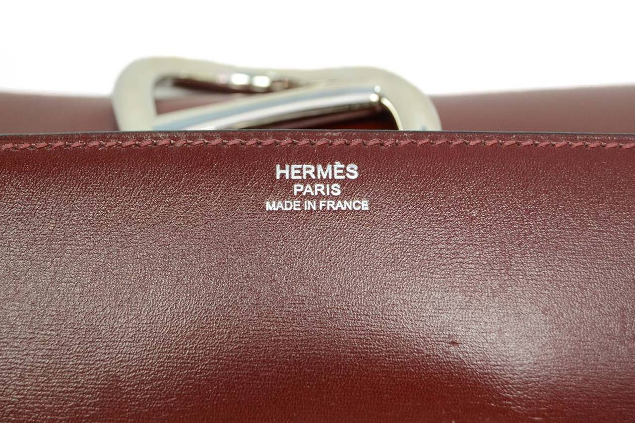 HERMES Burgundy Box Leather Egee Clutch Bag PHW 7