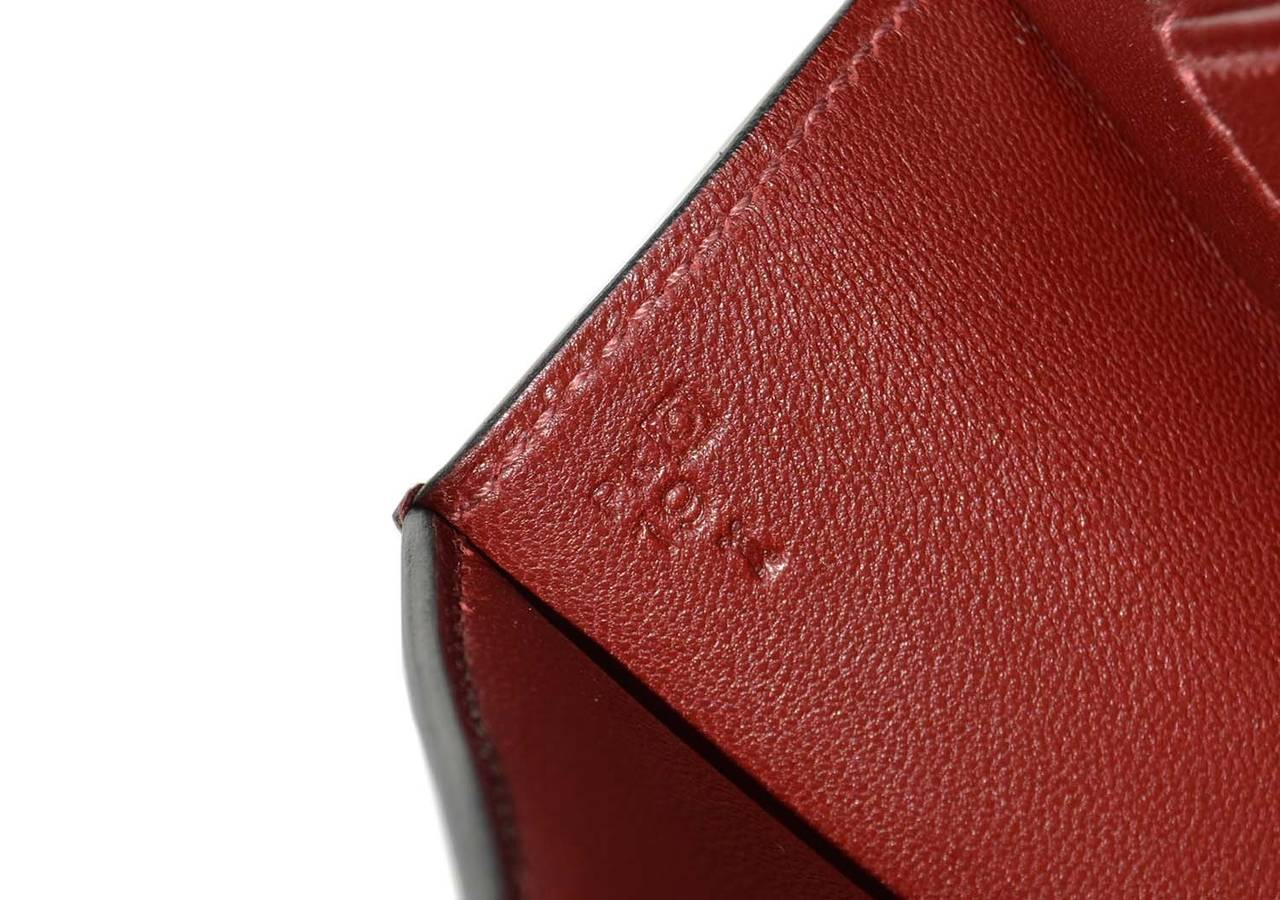 HERMES Burgundy Box Leather Egee Clutch Bag PHW 8