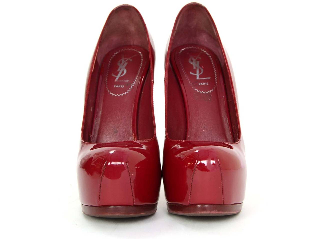 YVES SAINT LAURENT YSL Red Patent Tribtoo Pumps sz 37.5 2