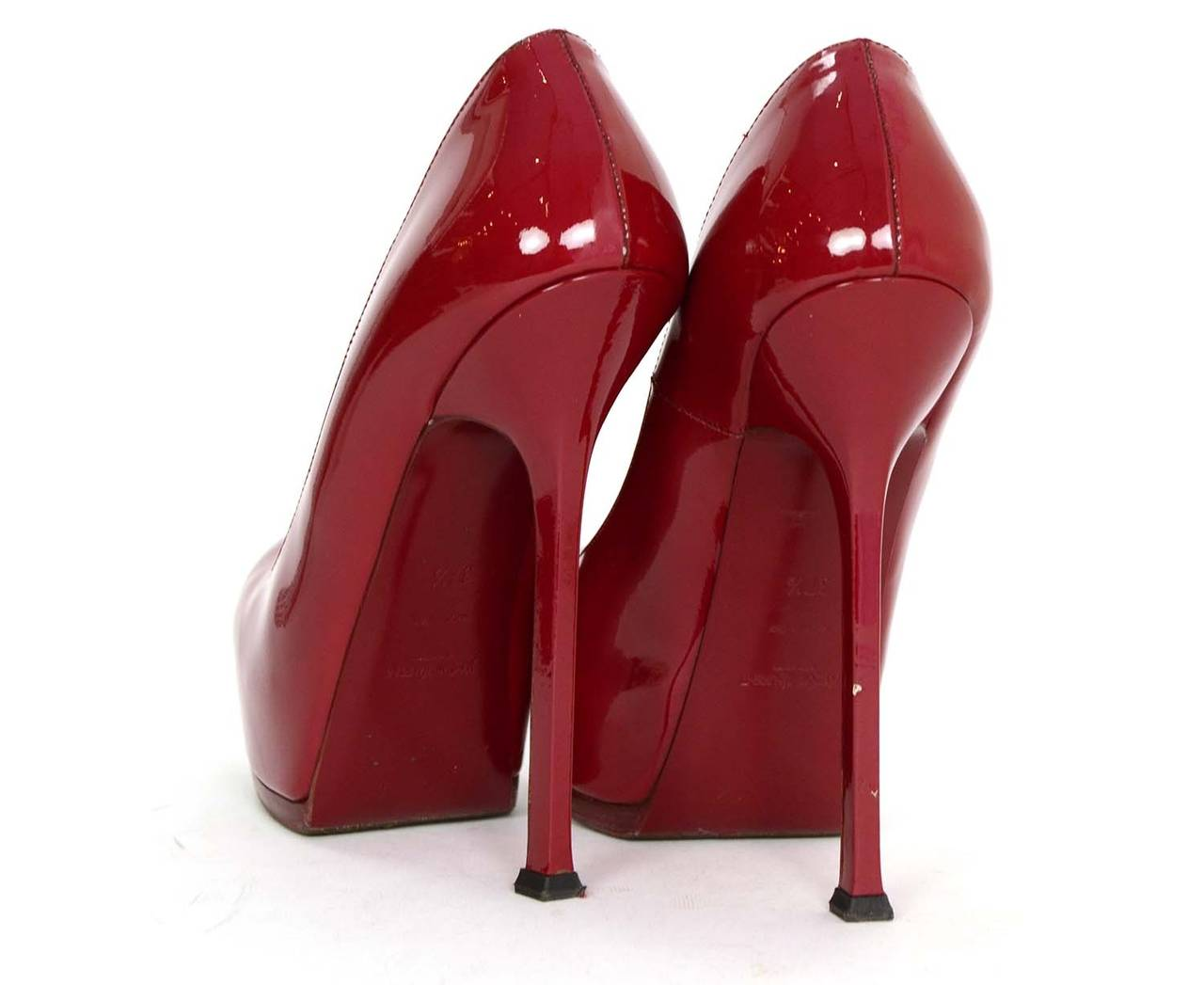 YVES SAINT LAURENT YSL Red Patent Tribtoo Pumps sz 37.5 4