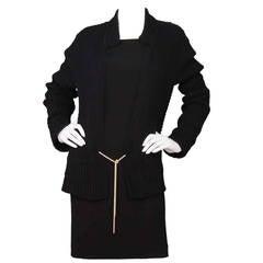 CHANEL Black Crochet Cardigan w/Metal Rope Tie sz 40