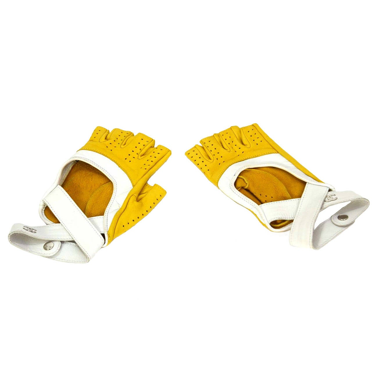 Yellow leather driving gloves - Chanel Yellow White Leather Fingerless Driving Gloves 1