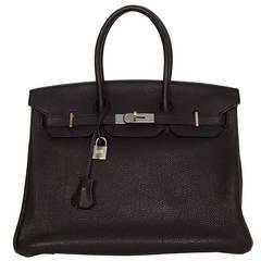 HERMES Black Togo 35cm Birkin Bag PHW