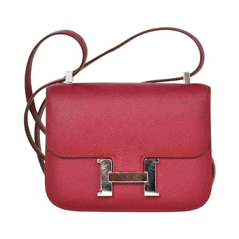 Hermes Rubis Red Epsom Leather 14 Cm Micro Constance Cross Body ...