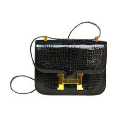 Hermes Black Porosus Crocodile 23cm Constance Bag w. Gold Hardware