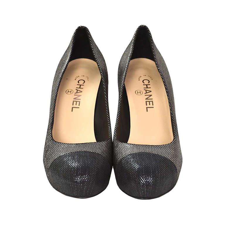 CHANEL Black/Pewter Glitter Pump Shoes-Sz 8.5 1