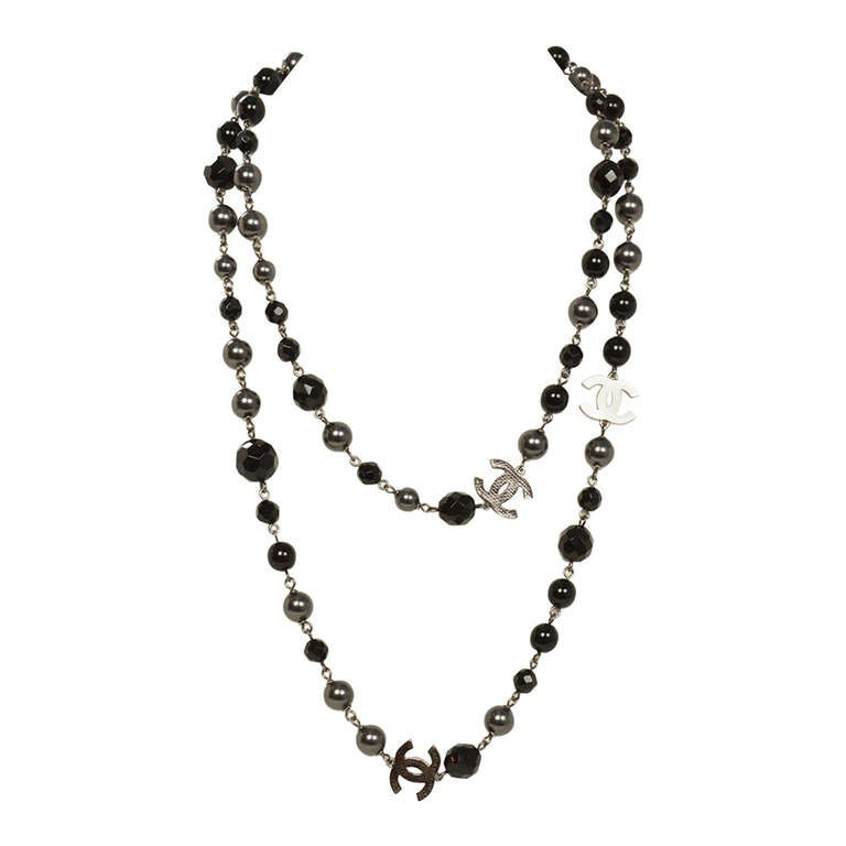 """Chanel 2011 44"""" Long Black & Pewter Beaded Faux Pearl Chain Necklace 1"""
